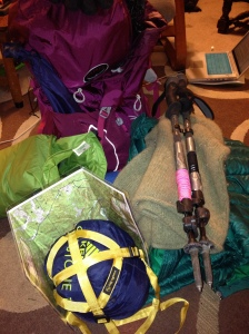 Assorted gear before packed into backpack.